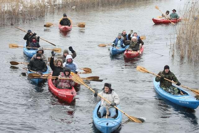 Zimowy spływ rzeka Ełk - full image