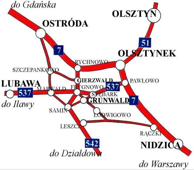 Orientacyjna mapka dojazdu na pole bitwy