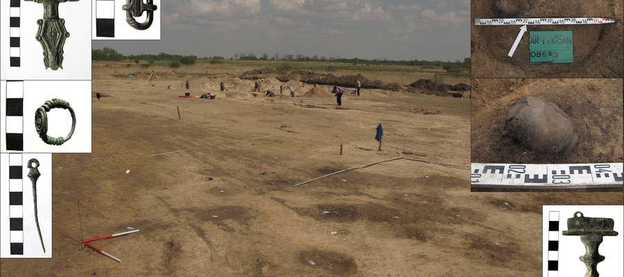 Zdjęcie wykopalisk i znalezionych zabytków
