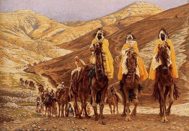Obraz przedstawiający podróż Trzech Mędrców do Betlejem.  - full image