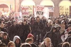 Protest przeciwko ACTA w Olsztynie