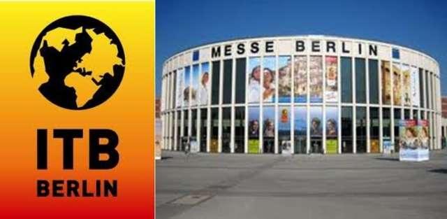 Jedna z hal targowych i logo tegorocznych targów w Berlinie - full image