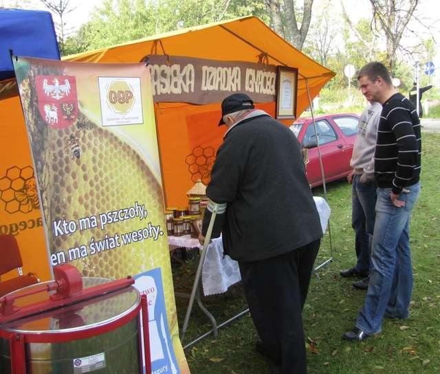 Członkiem sieci jest m.in. Gołdapskie Stowarzyszenie Pszczelarzy - na zdjęciu stoisko jednego z miejscowych producentów miodu podczas obchodów Światowego Dnia Turystyki 4.10.2012 r w Gołdapi  - full image