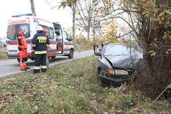 Wypadek w Dywitach. Młody kierowca uderzył w drzewo
