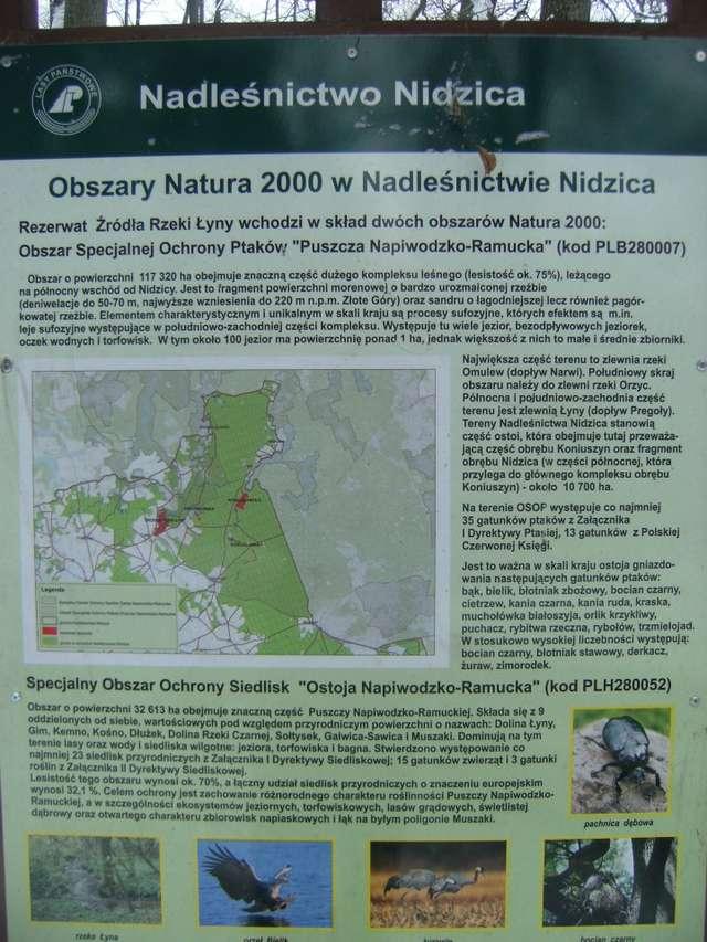 Tablica z informacją o Rezerwacie Źródła Rzeki Łyny - full image