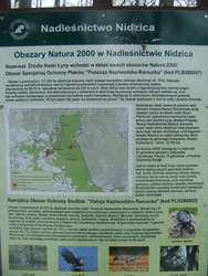 Tablica z informacją o Rezerwacie Źródła Rzeki Łyny