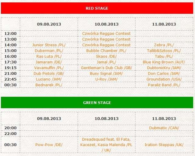 Program Ostróda Reggae Festival 2013  - full image