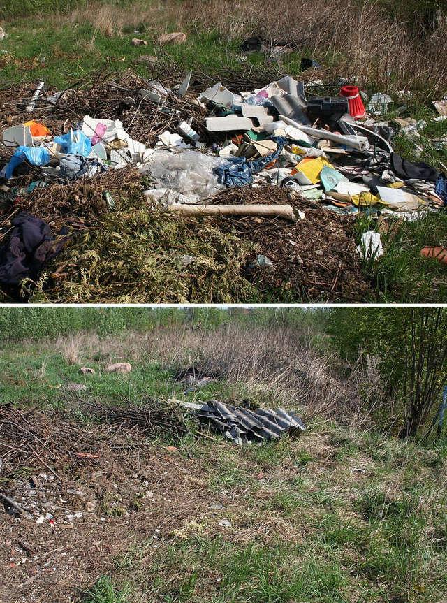 Fragment nielegalnego wysypiska śmieci przy ul. Szkolnej w Bisztynku. Wczoraj (8 maja) i dziś (9 maja).