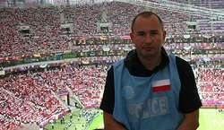 Podkomisarz Marek Tarwacki na Stadionie Narodowym w Warszawie