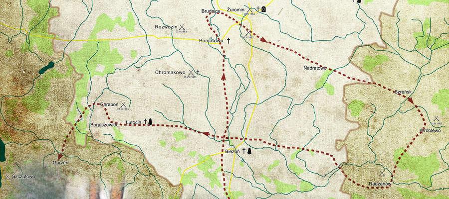 Mapa powiatu żuromińskiego z naniesionymi wydarzeniami z 1863 roku