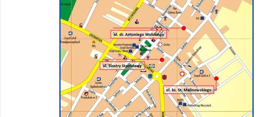 Nowe nazwy ulic w Żurominie fot. na podstawie