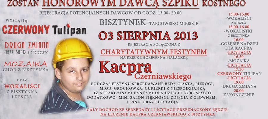 Przyjdź, przyjedź, dotrzyj na festyn charytatywny dla chorego na białaczkę Kacpra z Bisztynka !!!