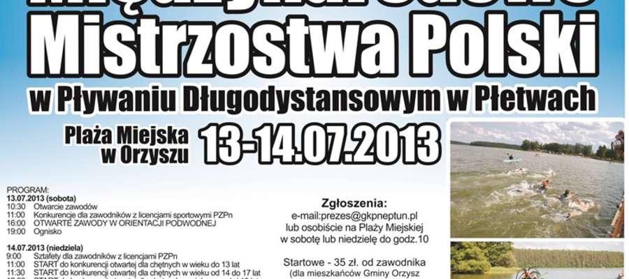 Harmonogram Międzynarodowych Mistrzostw Polski w Pływaniu Długodystansowym w Płetwach