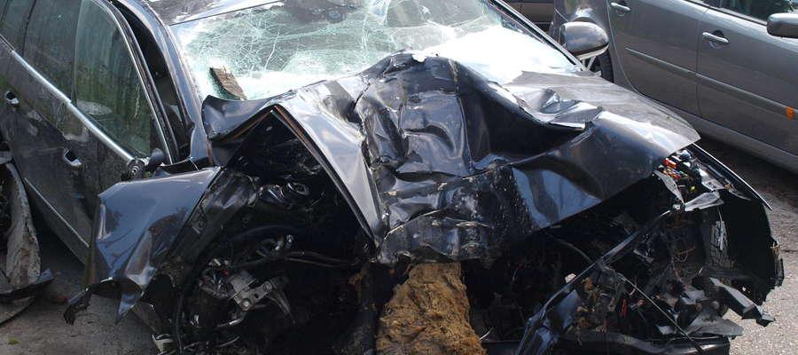 Samochód był doszczętnie rozbity