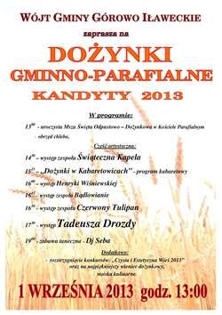 """Dożynki Gminno - Parafialne w Kandytach z """"Czerwonym Tulipanem""""  i Tadeuszem Drozdą"""