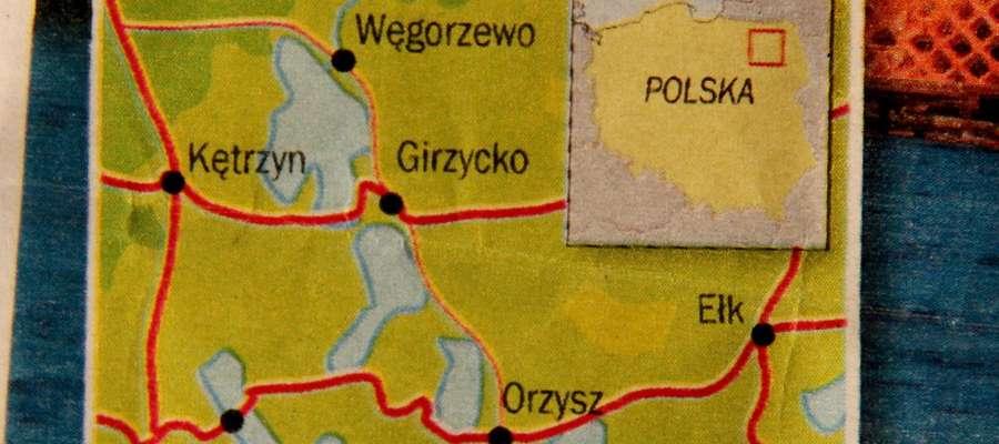 Mapka w jednym z kolorowych pism