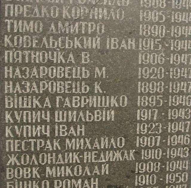 Na zdjęciu tablica w Żurawcach poświęcona mieszkańcom wsi zabitym i zamęczonym w czasie II wojny światowej. Wśród nich nazwiska Kowelśkyj i Żołondyk. - full image