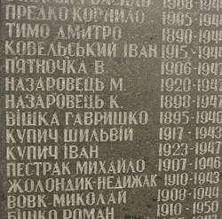 Na zdjęciu tablica w Żurawcach poświęcona mieszkańcom wsi zabitym i zamęczonym w czasie II wojny światowej. Wśród nich nazwiska Kowelśkyj i Żołondyk.