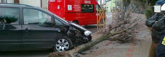 Seat uderzył w drzewo, które przygniotło starszego mężczyznę