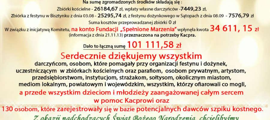 Komitet zbierający datki na pomoc Kacprowi informuje o kwocie i dziękuje.