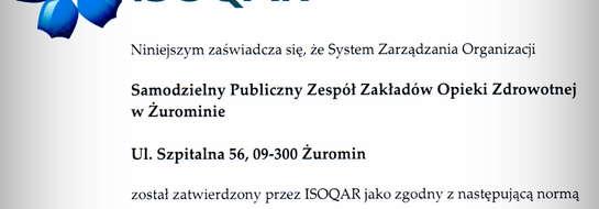 Certyfikat Jakości ISO dla szpitala