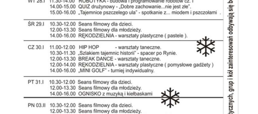 Program ferii zimowych 2014 w Ryńskim Centrum Kultury