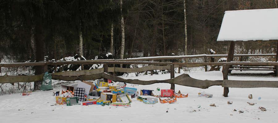 Puste kartony po art. spożywczych pojawiają się na leśnym parkingu co kilka dni.