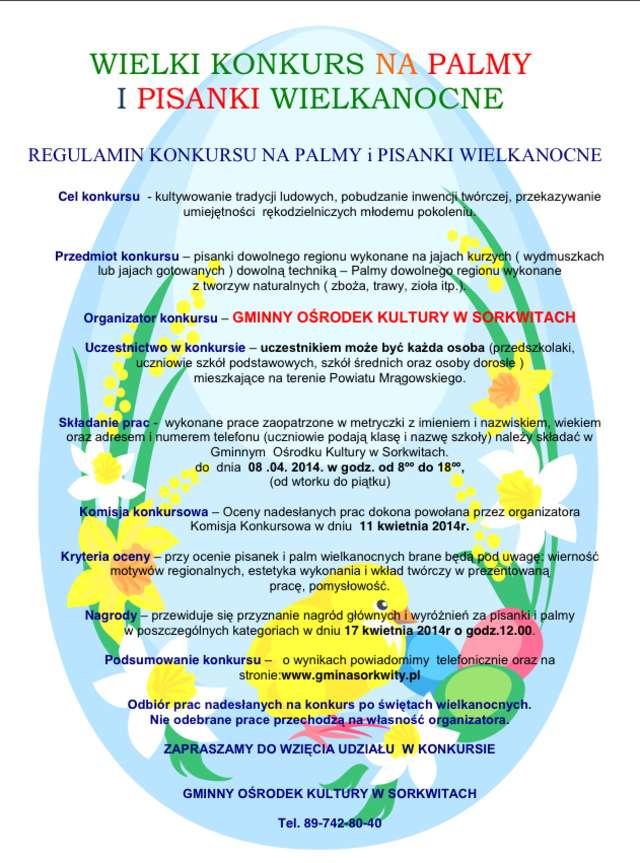 plakat promujący konkurs na pisankę i palmę wielkanocną - full image
