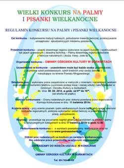 plakat promujący konkurs na pisankę i palmę wielkanocną