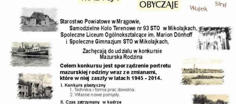"""Plakat promujący II edycję konkursu """"Mazurska Rodzina"""""""