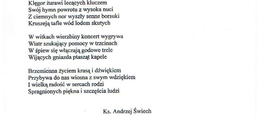 Jeden ze zwycięzkich wierszy księdza Andrzeja Świecha