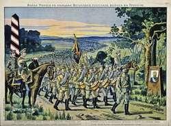 Rosyjska pocztówka z 1914 roku: Wejście wojsk rosyjskich do Prus
