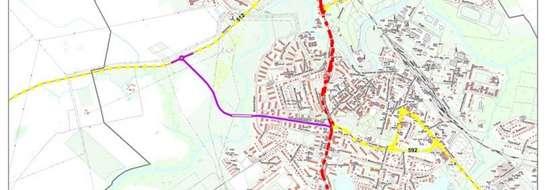Nowy przebieg drogi zaznaczono kolorem fioletowym