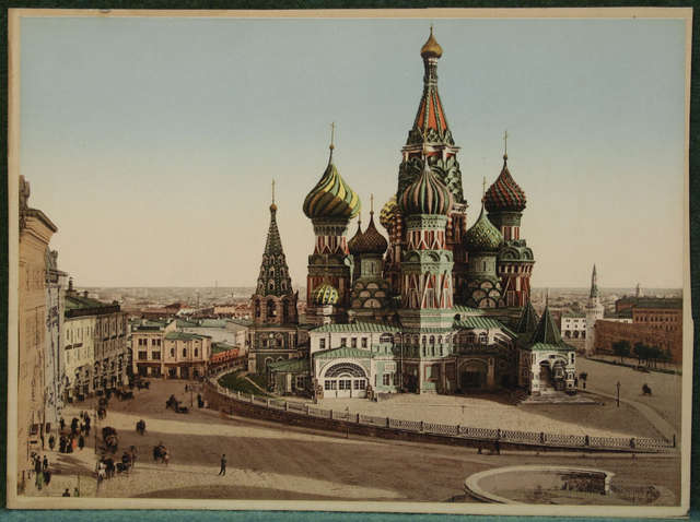 Cerkiew św. Wasyla w Moskwie około 1900 roku. - full image