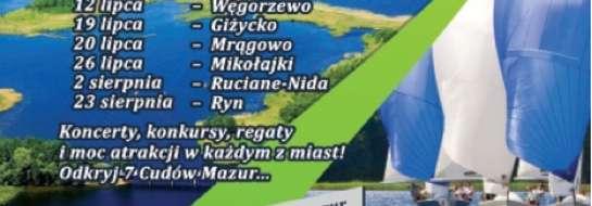 Plakat promujący II Żeglarskie Grand Prix Mazur o Puchar 7 Cudów Mazur