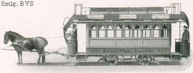 Konny tramwaj berliński na rycinie z 1865 roku, być może w zaprzęgu są konie z majątku w Linowcu - full image