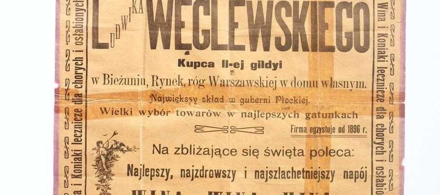 Plakat  reklamowy Składu Win Ludwika Węglewskiego, ok. 1907 rok, zbiory Muzeum Małego Miasta w Bieżuniu Oddział      Muzeum Wsi Mazowieckiej w Sierpcu.