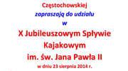 X Spływ Łyną im. Świętego Jana Pawła II