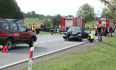 8 osób rannych w wypadku na trasie Biskupiec-Mrągowo