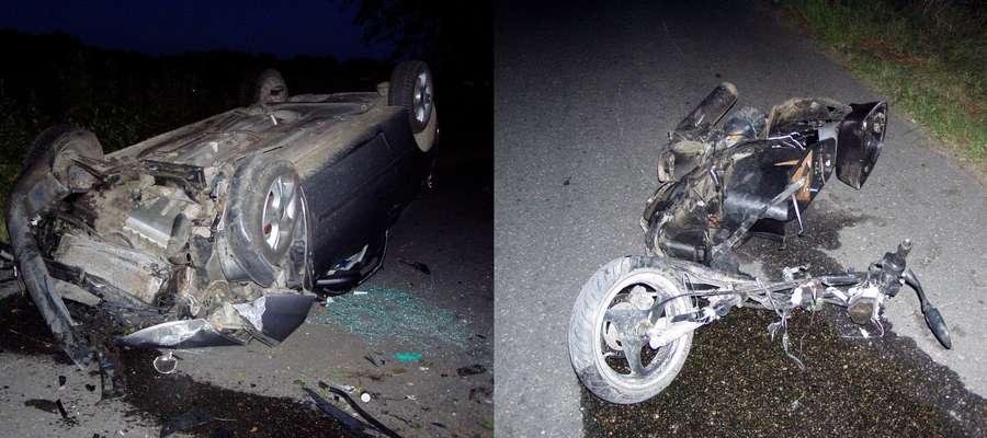 Auto osobowe zderzyło się ze skuterem. Śmierć poniósł kierowca jednośladu