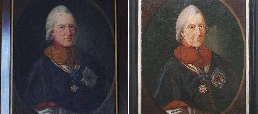 Po lewej portret biskupa Hohenzolerna ze zbiorów muzeum we Fromborku. Po prawej obraz uważany dotychczas za portret biskupa Krasickiego.