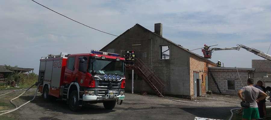 W akcji gaszenie pożaru w Różnowie wzięło udział 12 zastępów straży pożarnych
