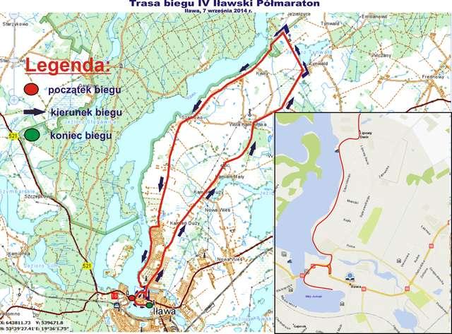 Mapa biegu IV Iławskiego Półmaratonu