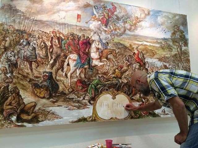 """W miejscu gdzie powinna być nazwa obrazu artysta wpisał """"ПТН ПНХ"""" czyli ukraiński skrót od Putin ch...ło"""" - full image"""