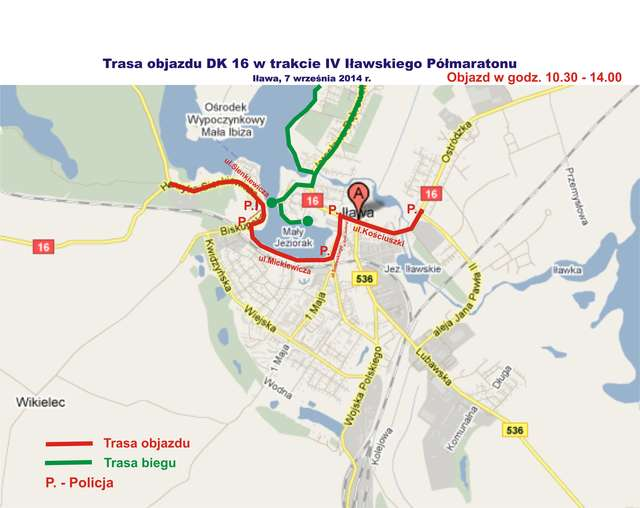 Plan objazdu DK 16