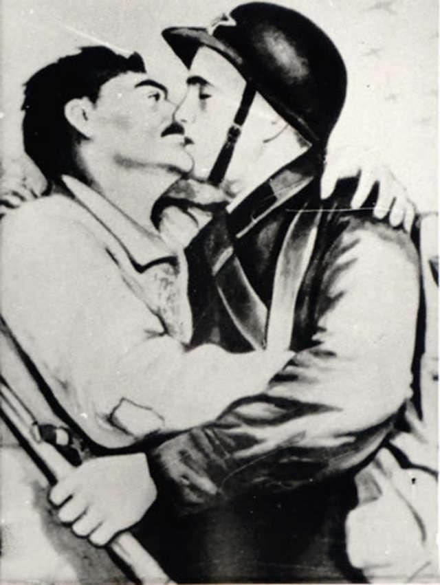 Spotkanie robotników z żołnierzami radzieckimi. Plakat sowiecki z września 1939 roku - full image
