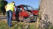 Pijany kierowca zakończył jazdę na drzewie