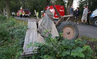 Wypadek wozu na drodze do Orzechowa. Ranne małżeństwo