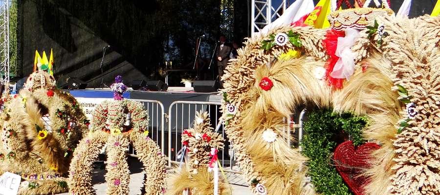 Konkursowe wieńce w Biskupcu podczas dożynek gminnych w 2013 roku