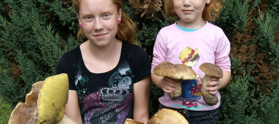 Wnuczki leśniczego z grzybami-okazami dziś znalezionymi z lesie koło Bisztynka.